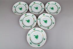 6db Herendi zöld Apponyi mintás előételes tányér