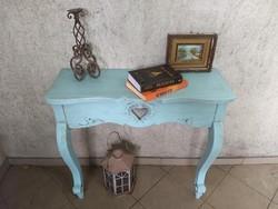 Vintage faragott konzolasztal, türkiz - Rendelhető 31.000 Ft