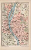 Budapest térkép (2) 1893, színes, német nyelvű, Brockhaus, Magyarország, főváros, Buda, Pest, régi
