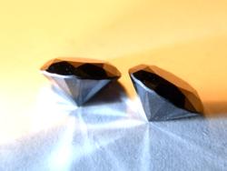 Gyönyörű fekete moissanit pár - 2 x 1,7 ct