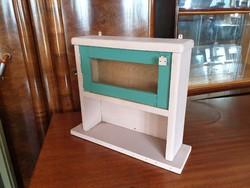 Régi vintage fenyő vitrines fa faliszekrény fali szekrény polc