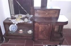 Antik fésülködő, toalett szekrény, csiszolt tükrös,vitrines,fiókos, két ajtós intarziás,