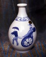 Régi japán, szignózott, kézzel festett Arita porcelán szakés palack