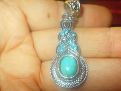 Fonott mint.Türkiz köves- Türkiz kristályos Tibeti ezüst Medál