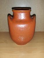 Jelzett iparművész kétfüles kerámia váza (1/d)