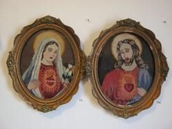 Kézi gobelin Szűz Mária és Jézus kép fali dísz szentkép blondel keretben