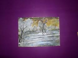 Táj hóolvadáskor, tempera, karton, 19 x 28 cm  keret nélkül -Lehoczky József