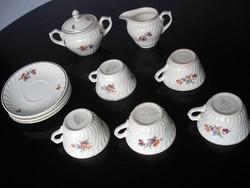 Szép régi virágos Gránit teáskészlet