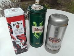 Limitált kiadású Jim Beam fém díszdoboz ,Vilmos körte és Chivas Regal fém dísz doboz
