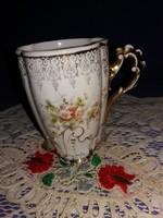 Antik  Zsolnay Írisz aranyozott barokk porcelán bögre a képek szerint