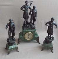 Régi kandalló óra + szobor pár