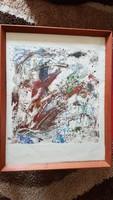 Orosz Balázs: Kozmosz. monotípia, papír 44x46 cm, kerettel 66x52 cm LEÁRAZÁS