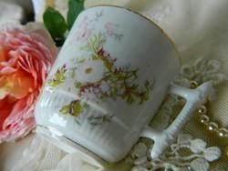 Antik virágos csésze, különleges füllel, gyűjtői