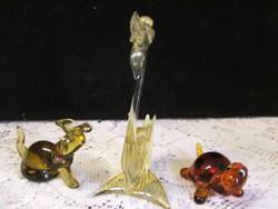 3 db bájos üveg állat figura