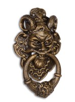 Ördögfejes ajtó kopogtató vasból-bronz színű-hatású