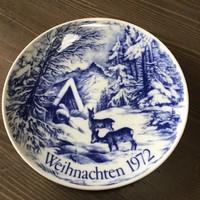 Régi Német Echt Cobalt Bavaria falitányér