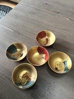 Régi Japán kézzel festett sakés poharak 5db.