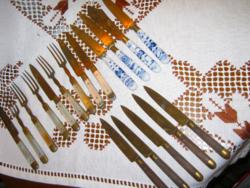 Régi desszert villa kés csomag gyöngyház porcelán nyél
