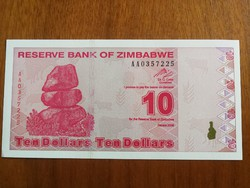 Zimbabwe 10 Dollár 2009 UNC