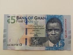 Ghána 5 Cedi UNC 2017 emlékbankjegy