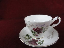 Angol porcelán teáscsésze + alátét, rubint esküvőre készült.