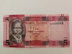 Dél-Szudán 5 Pounds UNC bankjegy 2015