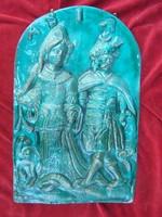 Dombormű barokk jelenettel - mázas kerámia falikép