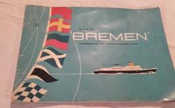 """Az 1959-ben épített """"BREMEN""""  Flagship of the North German Llyoyd reklám kiadvány,újság"""