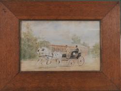 Ismeretlen művész: Habsburg Rudolf trónörökös kocsin, akvarell
