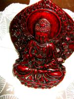 Áldó Buddha 13 cm bordó