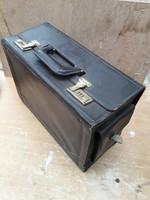 Retro pilótatáska Malévos relikvia számzáras kisbőrönd - extra széles aktatáska - térkép tartó táska