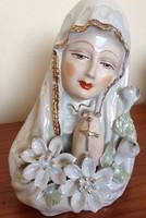 Antik lüszteres Szűz Mária porcelán szobor. GYÖNYÖRŰ élőben!