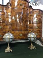 Antik ékszertartó- gömb alakú tartó -porcelán és bronz