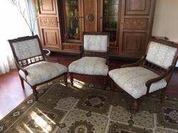 Szalon fotelek, 3 db, egyben