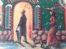 Régi karácsonyi cigis díszdoboz 1995 Sopianae cigarettás szofis retro fémdoboz