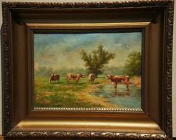 Perlmutter Imre: Olaj, vászon festmény, aranyos képkeret. Tehenek. Tájkép.