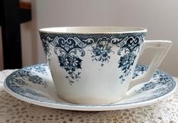 Antik fajansz Sarreguemines Digoin (?) kakaós csésze szett
