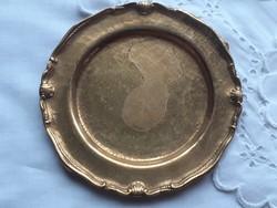 Régi réz mini tányér gyűrűtartó dísztál