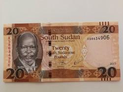 Dél-Szudán 20 Pounds UNC bankjegy 2017