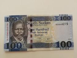 Dél-Szudán 100 Pounds UNC bankjegy 2017