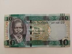 Dél-Szudán 10 Pounds UNC bankjegy 2016