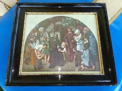 19. sz.-i stílusú vallásos témájú kép aranyozott vastag fekete lakkozott keretben