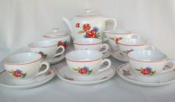 Gránit kerámia pipacsos 6 személyes teáskészlet
