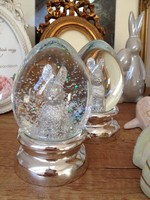 Húsvéti nyuszis üveg tojás / hógömb gyönyörű!