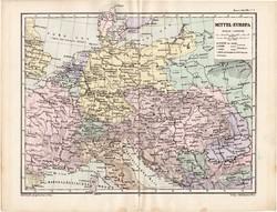 Közép - Európa politikai térkép 1885, eredeti, német nyelvű, osztrák atlasz, Kozenn, monarchia, régi