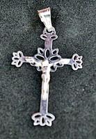 Antik ezüst kereszt medál Krisztussal, gyönyörű szép!