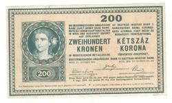 200 korona 1918 Sorszámnékül. Nagyon ritka Hullámos hátlap