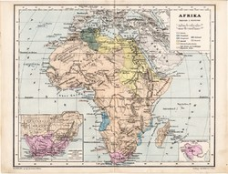 Afrika térkép 1885, eredeti, német nyelvű, osztrák atlasz, Kozenn, politikai, Egyiptom, tuareg, régi