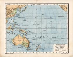 Ausztrália és Polinézia térkép 1885, eredeti, német nyelvű, osztrák atlasz, Kozenn, hegy, vízrajz