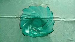 Zöld üveg asztalközép, gyümölcsös tál